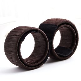Wholesale Diy Hair Styling - DIY Styling Donut Former Hair Ties Girl Hair Foam Hair Bows French Twist Magic Tools Bun Maker Black Brown Coffee Former Magic Tools