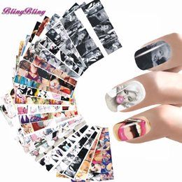 Wholesale Nail Art Foil Sheets - 24 sheet Nail Sticker Marilyn Monroe Nail Art Water Decals Audrey Hepburnl Design Nail Wraps Transfer Foil Nails Decorations