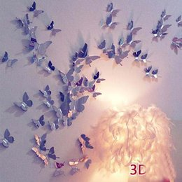 Wholesale Nature Pops - 12pcs lot 3D vivid Butterfly Wall Sticker Decor Pop-up Sticker Home Room Art Decorations Baby Bedroom Backdrop