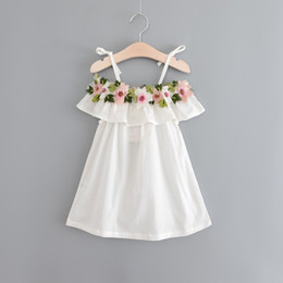 Wholesale Korean Girl Fashion Clothes - 2017 Babies Embroidered Floral Dresses Baby Girl Fashion Singlet Dress Girl Summer Korean clothing childrens clothes