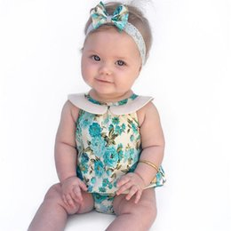 Wholesale Toddler Girls Bubble Romper - Ins Baby Girl Romper Infant Summer Ruffled Newborn Onesies+Headband Jumpsuit Sleeveless Clothes Bubble Toddler Girls babies Rompers Roupas
