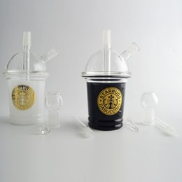 Tazze da dozzina d'olio online-Starbucks Bongs Water Pipes Glass Bubbler 14mm joint 6 pollici Staccabile Black Starbuck Cups Narghilè Smoking Shisha Dab Oil Rig WitH Bowl