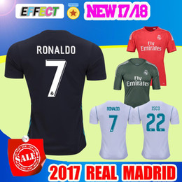 Wholesale 2017 Real Madrid soccer Jersey RONALDO home white away Black goalkeeper Red Maillot de foot JAMES BALE RAMOS ISCO football shirts