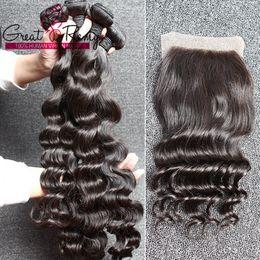 Cheveux brésiliens trame ondulée lâche vague profonde 1PC libre partie supérieure fermeture de dentelle 4