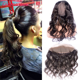 Wholesale Lace Closure Cap - Glamorous Round Lace Closure Brazilian Body Wave 22*4*3Inch 360 Lace Frontal Closure with Wig Cap 8-20Inch Peruvian Indian Malaysian Hair