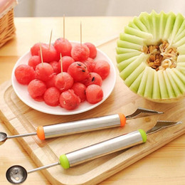 Wholesale Ball Cutter - Watermelon Dig Spoon Stainless Steel Cutter Fruit Digging Ball Melon Carving Tool Ice Cream Ballers Kitchen Parts 2 6rr F