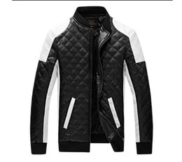 Wholesale Leather Jackets For Men 5xl - New Design Men's Jacket Winter&Autumn PU Leather Black&White Fashion Slim Plaid Jacket For Man Drop Shipping MWJ883