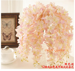 Wholesale Purple Flower Baskets - 30PCS Artificial Hydrangea Wisteria Flower For DIY Simulation Wedding Arch Square Rattan Wall Hanging Basket Can Be Extension fv02
