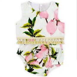 Wholesale Vest Colour - 2017 INS hot baby girl kids toddler Summer cute 2piece set outfits Lace Tassels Rose floral tops shirts vest tanks + shorts pants bloomers