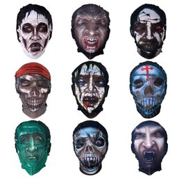 Wholesale Tight Stretch Dresses - Stretch net mask halloween Skin Tight Tattoo full Face Masks costume fancy dress party skull ghost hooded masks for adults children gift