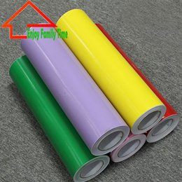 Wholesale Decorative Household - Wholesale-2016 Plotter Cutting Self Adhesive Vinyl Film Rolls Solid Color Decorative Vinyl Wallpaper Glass Self Adhesive Film 60CM*8M
