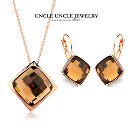 Wholesale Simple Wedding Necklace Earrings - Colourful!!! Rose Gold Color Simple Square Sections Crystal Lady Jewelry Set Necklace Earring Wholesale