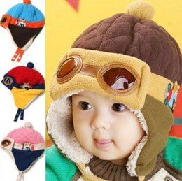 Wholesale boys pilot hat - 10 to 48 Months Baby Winter Hat 4 Colors Toddlers Cool Baby Boy Girl Infant Winter Pilot Warm Kids Cap Hat Beanie