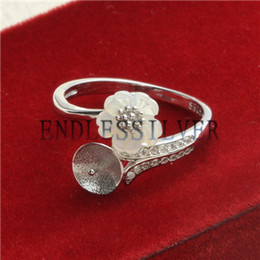 Wholesale Rings For Mothers - Ring Settings White Shell Flower 925 Sterling Silver DIY Jewellery Findings Pearl Mounting for Pearl Party