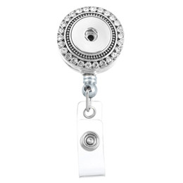 Wholesale Diy Rhinestone Pins - 2 Style 8.5x3.3cm Charm Inlaid Rhinestone Round Reel Clip ID Badge Holder DIY Accessory Interchangeable Snap Button Holder Brooch N172S