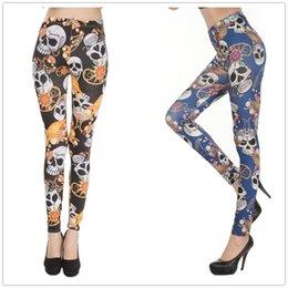 Wholesale Leggings Pirate - Wholesale- Hot Pirate skull Printing Leggings Female Fashion Slim Elastic Leggings 3 Colors