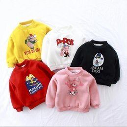 Wholesale Collared Hoodies Girls - 5 colors Ins cute style baby girl boy cartoon animal print round collar long sleeve With double velvet hoodie thickening autumn T-shirt