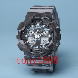 Wholesale Sport Watches Running - AAA luxury brand watch men All pointer work G100 Men sports watches LED light watch running hiking ga digital 100 watches with Box
