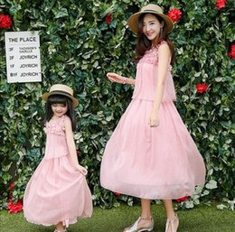 Wholesale Silk Family - Mother and mother clothes girls stereo froal pink princess long dress womens pure silk beach long dress 2017 family sea holiday dress T3171
