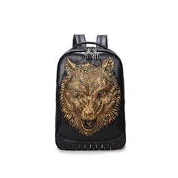 Wholesale International Phones - Wild wolf 3D creative fashion personality black leather backpack for school travel bags for international travel