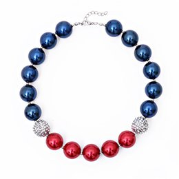 Wholesale Acrylic Necklace Kids - Girls Independence Day bead necklace blue red glitter beaded necklace 41cm kids arylic jewelry