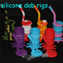Wholesale Wholesale Mini Glass Jars - Wholesale Mini Silicone Rigs Dab Jar Bongs Jar Water pipe Silicon Oil Drum Rigs silicone water pipes bubbler bong free shipping DHL