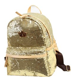 Wholesale Top Girls Backpack - Wholesale- 2017 Fashion Cute Girls Sequins Backpack Womens Paillette Leisure Popular School BookBags Free Shipping Top Quality P110