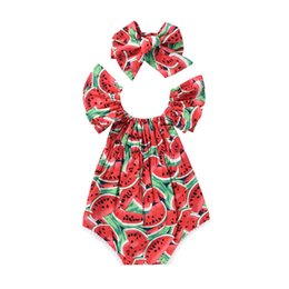 Wholesale Clothes Characters Baby - Everweekend Baby Girls Fly Sleeve Watermelon Rompers with Headbands Ruffles Sleeve Children Fashion Cotton Clothing