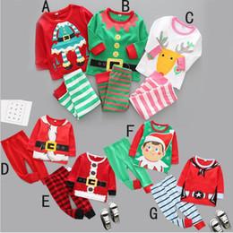 Wholesale Baby Santa Claus Suit - Christmas Baby Clothes Kids Xmas Elk Pajamas Sets Striped Santa Claus Suits Cotton Tops Pants Outfits Cartoon Long Sleeve Clothing Sets 3296