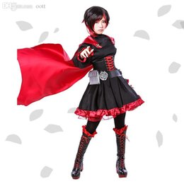 Wholesale Game Uniform Red - Wholesale-Ruby Rose Cosplay RWBY Red Dress Cloak Battle Uniform Hollowen Karneval Party Supply Costume