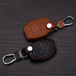 Wholesale Benz Key Leather - Car Genuine Leather Bag Remote Control Car Keychain Key Cover Case For Benz E260L C180 GLK300 C200 3Buttons Smart Key s25