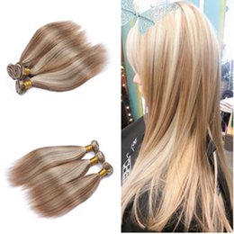 Wholesale Highlight Brown Hair - 9A Brown Blonde Highlight Ombre Malaysian Virgin Hair Silky Straight 3 Bundles #8 613 Mix Piano Color 100% Human Hair Weave Extensions
