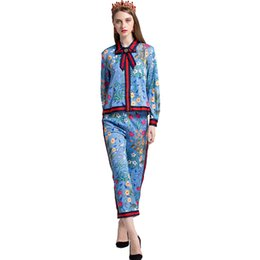 Wholesale Plus Size Women Printed Pants - 2018 Fashion Women Runway Plus Size 4XL 2 Pieces Pants Set Bow Blouse Ankle-Length Trousers Flower Printed Bohemian Tracksuits