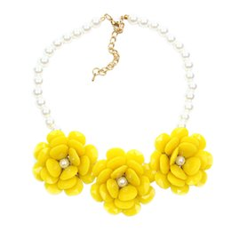 Wholesale Exo Jewelry - Wholesale-Fashion Simulated Pearl Jewelry Choker Necklace Big Flower Necklaces & Pendants Chunky Brand Collares Statement Necklace Exo