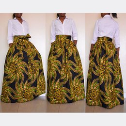 Wholesale Long Boho Maxi Skirts - 2017 Traditional African Golden Maxi Vintage Bohemian Ethnic Pattern Hippie Boho Long Skirt Swing Dress Skirts