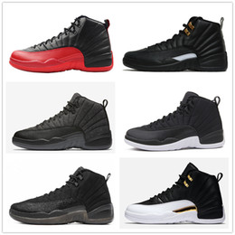 Wholesale Game Master - 12s Classic 12 basketball shoes ovo black nylon the master wool XII flu game wings CNY french blue wolf grey shoes