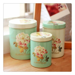 Wholesale Round Metal Gift Box - zakka Peony Round Snack Candy Cookie Jar Tin Box Food Sundries Iron Storage Box Home Decoration Gift 3pcs set