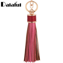 Wholesale Fringe Jewelry - 8 Colors Tassel Fringe Pu Leather Keychain Purse Bag Buckle HandBag Pendant For Car Keyring Holder Women Jewelry K226