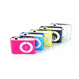 Wholesale Mini Box Watches - Wholesale- 100pcs Mini Clip MP3 Player Cheap Colorful Support mp3 Players with Earphone, USB Cable, Retail Box, Support Micro SD TF Cards
