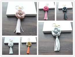 Wholesale Ceramic Animal Rings - Good A++ PU tassel key chain camellia bag pendant car key ring phone shell decoration KR307 Keychains mix order 20 pieces a lot