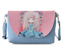 Wholesale One Hearts - 11 styles New Cartoon printing Women bag Female PU leather Mini Crossbody Shoulder bags Girls Messenger bag bolsa feminina summer purse