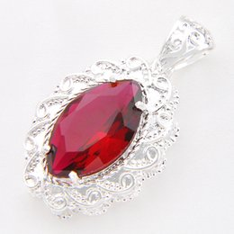 Wholesale Red Tourmaline Necklace - Free And Fast Shipping 3piece lot 925 sterling silver Unique Streamlined Pink tourmaline pendant for lady party gift