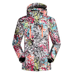 Wholesale Female Ski Jackets - Wholesale- SAENSHING 2016 ski jacket women winter snow waterproof windproof snowboard down coat graffiti print female jackets girl clothes