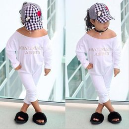Wholesale Jumping Clothing - In spring and autumn alphabet white long sleeve one shoulder jump suit children's clothing