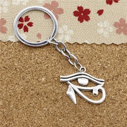 Wholesale Antique Ancient Key - 15pcs Fashion Diameter 30mm Chrome plate Key Ring Metal Key Chain Jewelry Antique Silver Plated ancient egypt eye of Horus 33*27mm Pendant