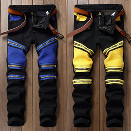 Wholesale Regular Bp - Wholesale- BP Patchwork Men's Biker Jeans Pleated Denim Male New Motocycle Jeans Pants Rap Multi Zipper Black Blue Slin Fit Punk Pants