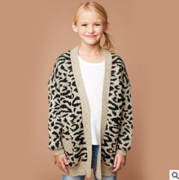 Wholesale Leopard Cardigan Fashion - Children knit cardigan fashion new big girls leopard grain princess coat kids V-neck long sleeve double pocket outwear fit 7-14T R1173