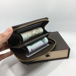 Wholesale Vintage Metal Wallet - Genuine Leather Credit Card Holder Wallet Classic Plaid Designer Metal Zipper Bag Purse 2017 Fashion Business Men id Card Case Coin Pocket