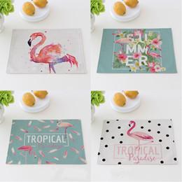 Länglicher tisch online-Getränke Untersetzer Längliche Form Wärmedämmung Rutschfeste Geschirrunterlage Flamingo Baumwolle Leinen Küchentischset 5 5jy C R