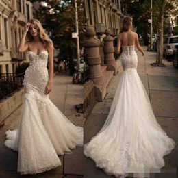 Wholesale Wedding Dress Fishtail Sweetheart - 2017 Berta Mermaid Backless Wedding Dresses Crystal 3D-Floral Appliques Lace Bridal Gowns Sexy Illusion Fishtail Wedding Dress Custom Made